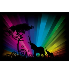 elephant rainbow background vector image