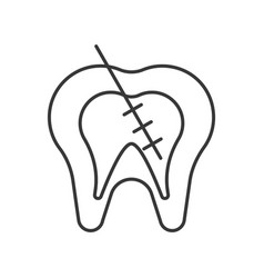 endodontic or root canal treatment outline icon vector image