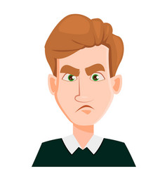 face expression of a man with blond hair - sad vector image