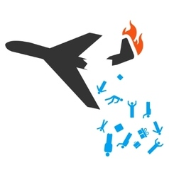 Falling Passengers From Airplane Icon vector image