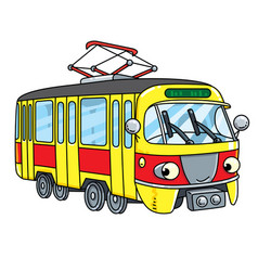 Funny small tram or tramway with eyes vector