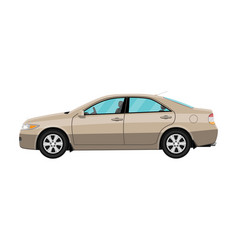 generic brown sedan car isolated on white vector image