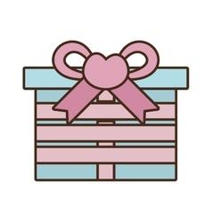 gift box ribbon bow pink heart vector image