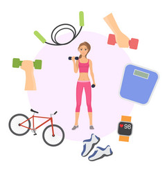 girl exercising with dumbbells poster banner vector image