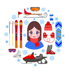 girland sports winter equipment vector image