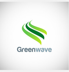 Green wave abstract logo vector