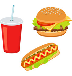 Hamburger hot dog cola drink takeaway food vector