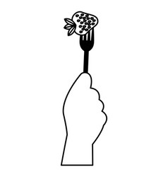 Hand holding fork with strawberry vector