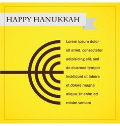 Hanukka menorah on yellow happy hanukkah vector