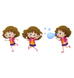 happy girl in three actions vector image