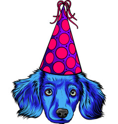 Head puppy dog with party hat vector