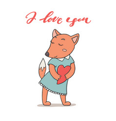 i love you greeting card cute fox holding heart vector image