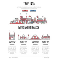 India travel infographics in linear style vector