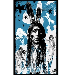 Indian Warrior Sitting Bull portrait - Freehand vector