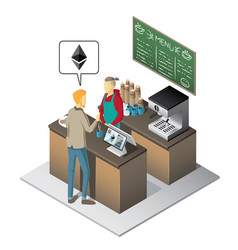 Isometric coffee shop - paying with ether vector