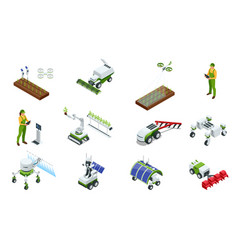 isometric modern smart industrial greenhouse set vector image