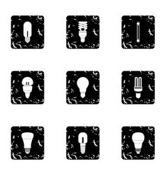 Lamp for home icons set grunge style vector