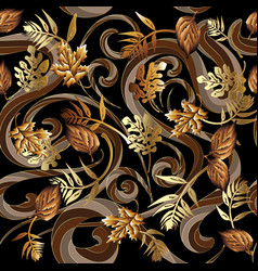 leafy floral modern 3d seamless pattern vector image