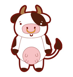 line color cute and happy cow wild animal vector image