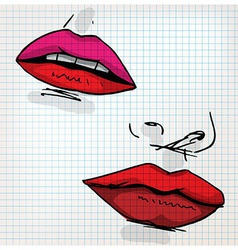 Lips of woman sketch vector
