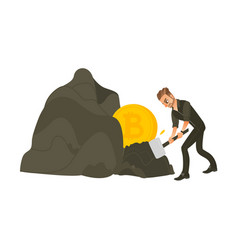 man businessman mining bitcoins gold from rock vector image
