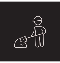 Man with shovel and hill of sand sketch icon vector image