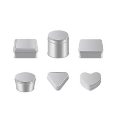 Metal box icon set realistic vector