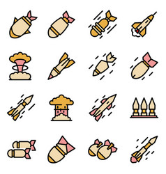 missile attack icons set line color vector image
