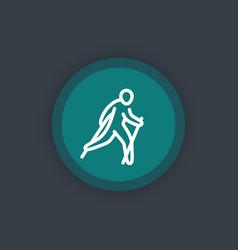 Nordic walking icon linear pictogram vector