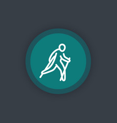 Nordic walking icon linear pictograph vector