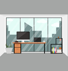 office workspace design interior in flat vector image