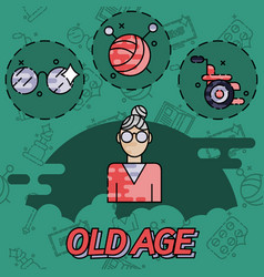 Old age flat concept icons vector