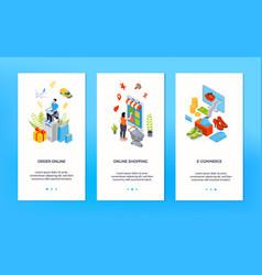 Online shopping vertical banners vector
