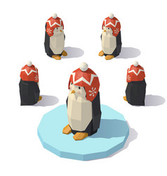 Penguin in a knitted hat vector