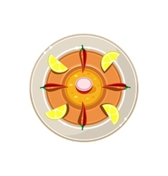 Pie with Pepper and Lemon Served Food vector