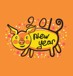 postcard with a happy new year 2019 with a cute vector image