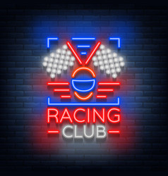 Racing club neon logo logo a glowing sign on the vector