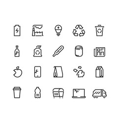 Recycling line icons plastic waste trash recycle vector