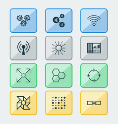 robotics icons set with information components vector image