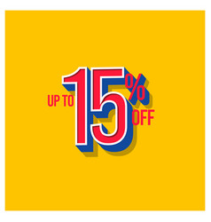Sale discount up to 15 off set template design vector