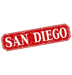 San diego red square grunge retro style sign vector