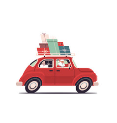 santa claus delivering gifts on red car merry vector image