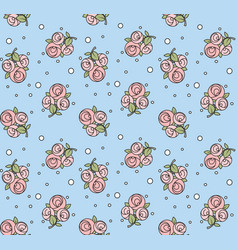 seamless pattern from roses with black outline vector image