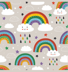 seamless pattern with cute rainbow cloud sun vector image