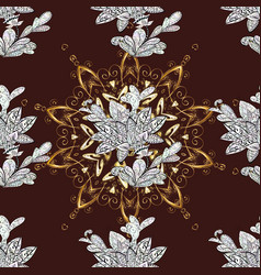 Seamless vintage pattern on brown neutral and vector