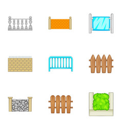 Sections of the fence icons set cartoon style vector