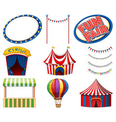 Set circus tents and signs on white background vector