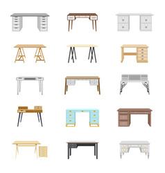 set fifteen office desks vector image
