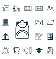 Set of 16 education icons includes electronic vector