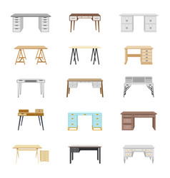 set of fifteen office desks vector image